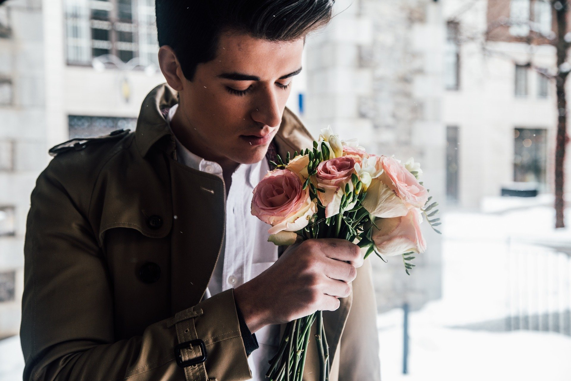 Good looking Guy with Flowers
