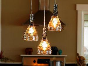 DIY Hanging Bottle Lamps