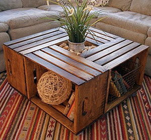 Four Crate Coffee Table With Planter