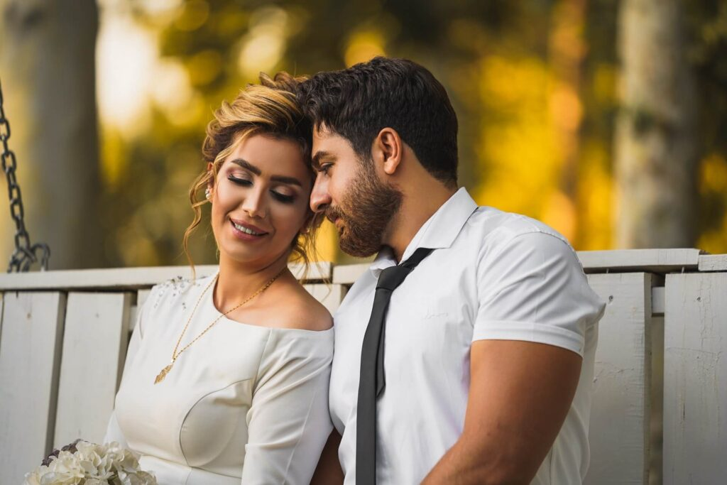Picture of dating couple in white
